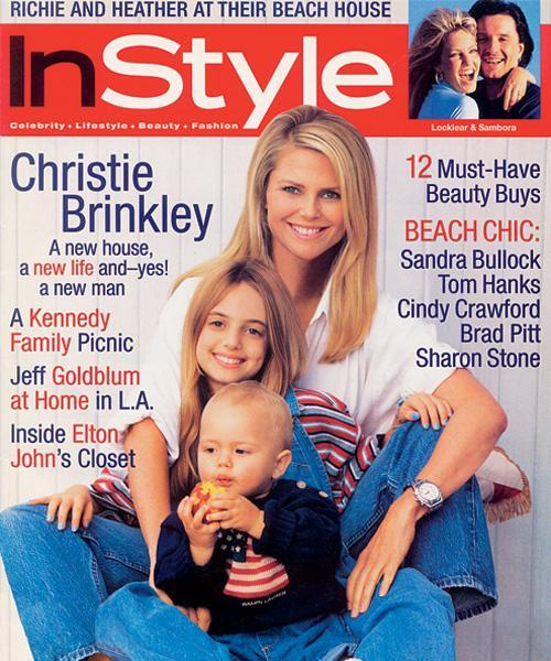 InStyle Covers - July 1996, Christie Brinkley, daughter Alexa Ray, and son Jack