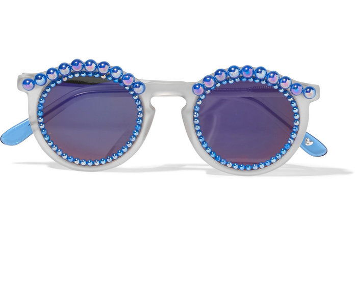 Freda Banana Tosca round-frame embellished matte-acetate mirrored sunglasses