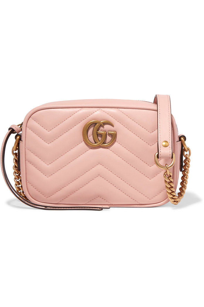 गुच्ची GG Marmont Camera mini quilted leather shoulder bag in Perfect Pink