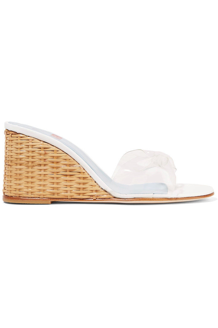 นาย by Man Repeller Wicker Wedge PVC sandals