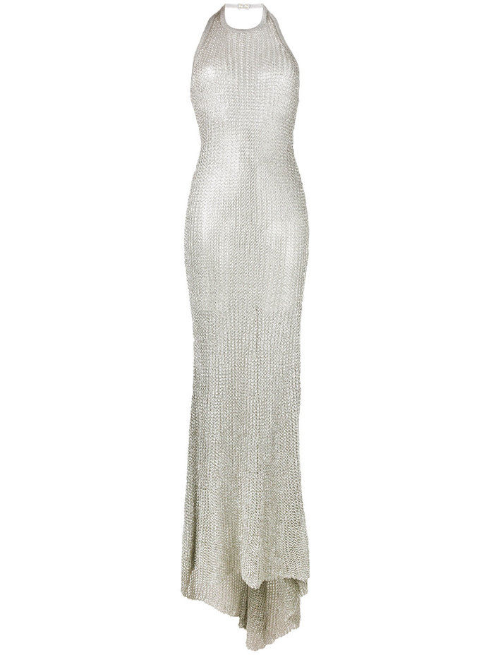 Halterneck Metallic Thread Dress