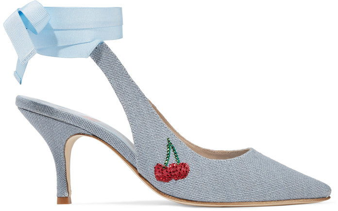 श्री by Man Repeller Kitten Heel Embellished Linen Pump