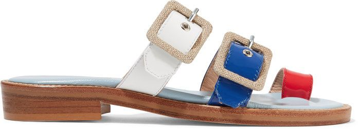 पट्टियाँ canvas-trimmed patent-leather sandals