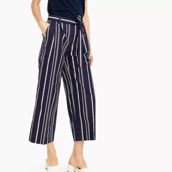 व्यापक पैर cropped pant in stripe