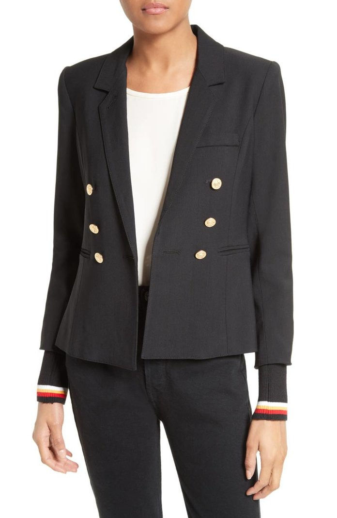 สมิต College Double Breasted Blazer with Detachable Knit Cuffs