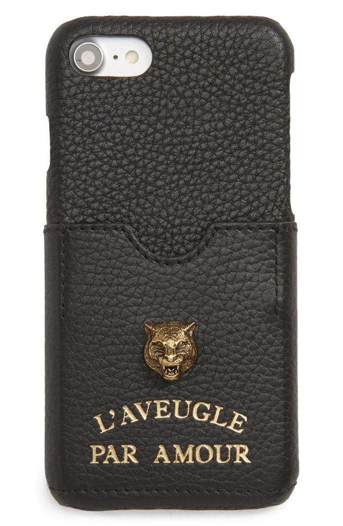 กุชชี่ Tiger L'Aveugle Par Amour Leather iPhone 7 Case