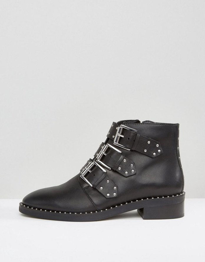 आशेर Leather Studded Ankle Boots