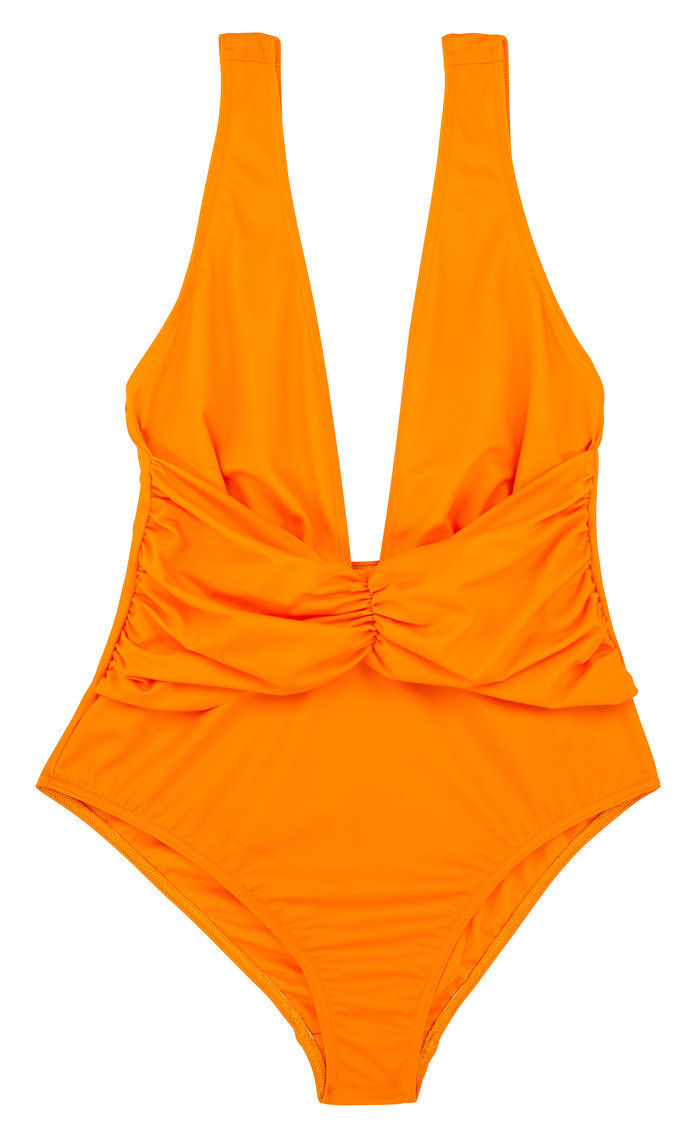 ส้ม deep plunge one-piece swimsuit