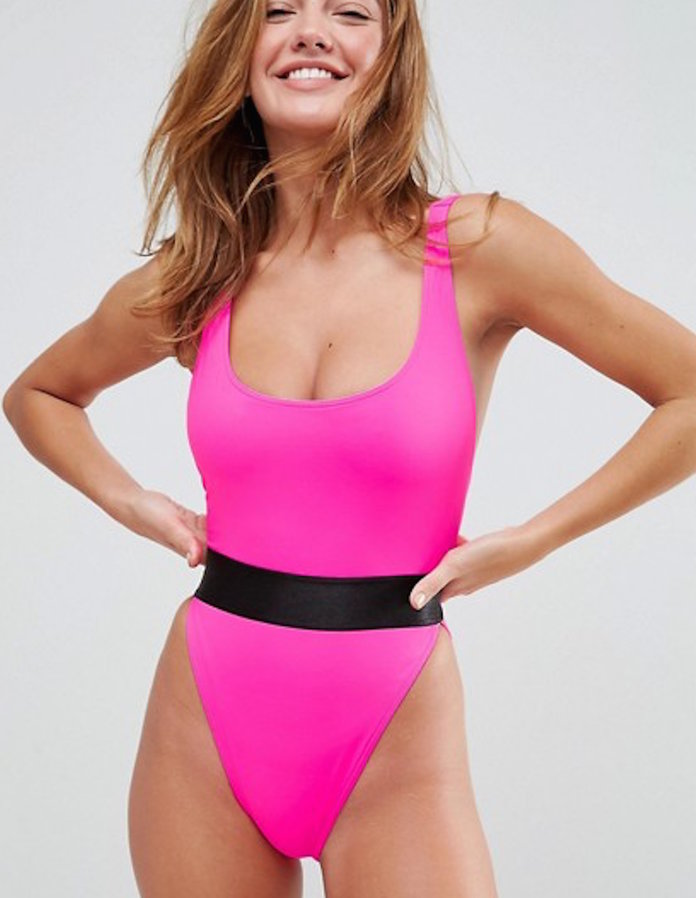 ร้อน pink one-piece swimsuit