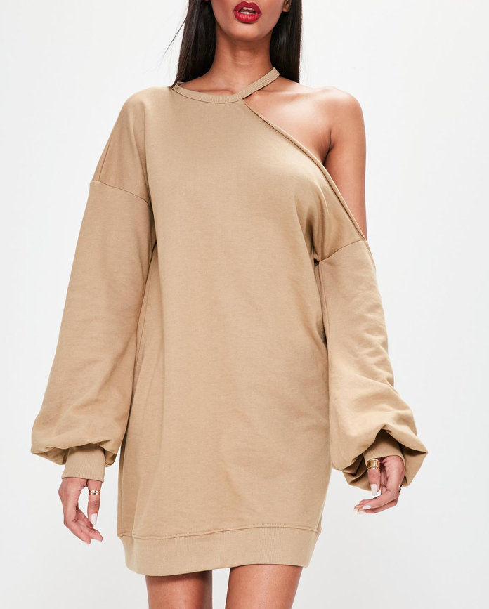Missguided camel one shoulder balloon sleeve sweater dress