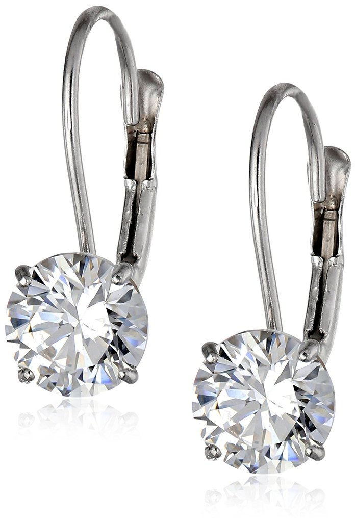 10k Gold Swarovski Zirconia Dangle Earrings (2 cttw)