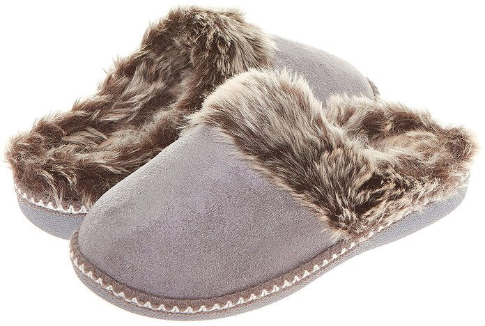 Floopi Womens Indoor Outdoor Aztec Two Tone Fur Lined Clog Slipper W/Memory Foam