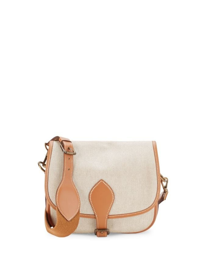 विंटेज Brown Small Toile Crossbody Bag