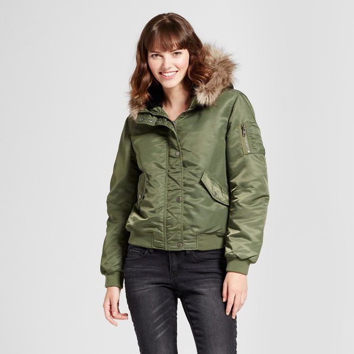 Mossimo Supply Bomber Puffer Jacket with Fur Hood