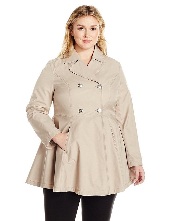 लवा & Ro Plus Size Fit and Flare Trench Coat Coat