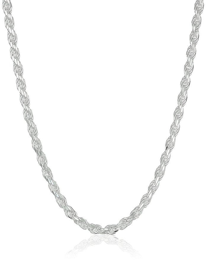 เงินสเตอร์ลิง Silver 040-Gauge Diamond-Cut Rope Chain Necklace