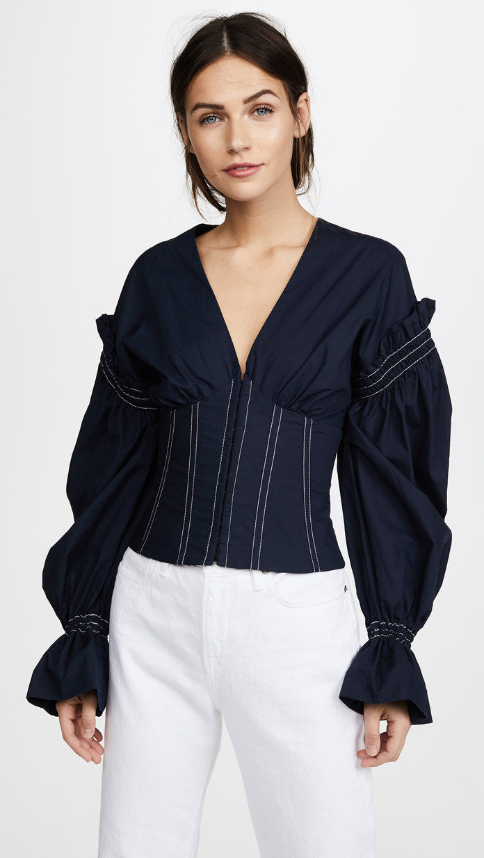 ruched Cotton V-Neck Corseted Blouse