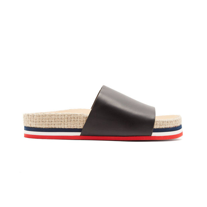 Moncler Striped Leather Slides
