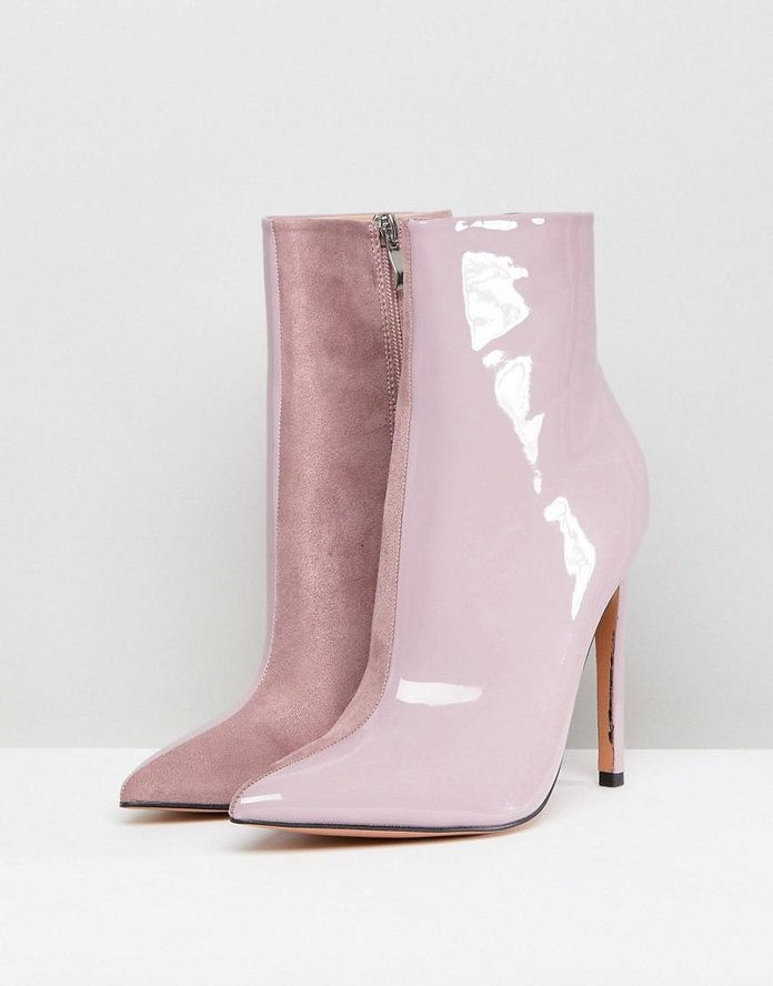 यूरी Lilac Contrast Stiletto Heeled Ankle Boots